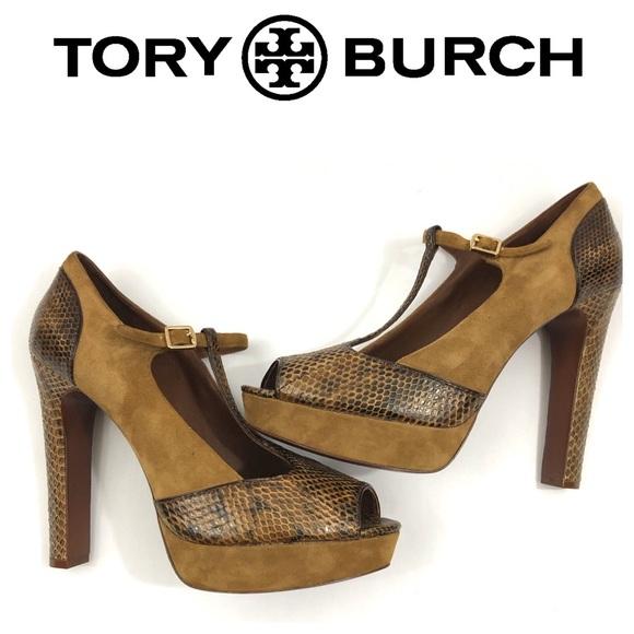 221f7dc59 NWOB Tory Burch Suede Snake Skin Peep-toe